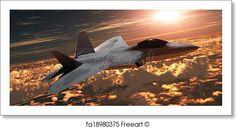 F-22 Fighter Jet at Sunset - Artwork  - Art Print from FreeArt.com