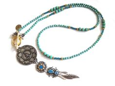 Bohemian hippie necklace with buddha and lotus pendant in turquoise and teal - long beaded necklace gypsy style