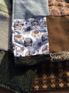 Patchwork Scarf Chocolate Owls Womens Scarf by TheSwedishFlicka