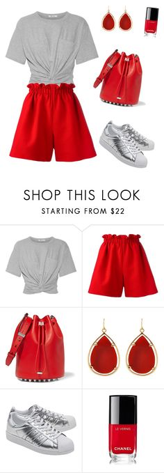 """""""Red & Grey"""" by laura-uzan ❤ liked on Polyvore featuring T By Alexander Wang, Fendi, Alexander Wang, Barse, adidas Originals, Chanel, 60secondstyle and PVShareYourStyle"""