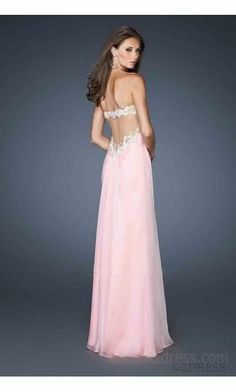 Embellished Sleeveless Natural Pink Long Chiffon Prom Dresses Cheap kzdress11612