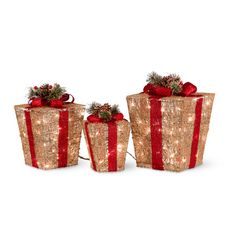 Use this Set of 3 Pre-Lit Glittering Gift Boxes to create a stunning display indoors or out. The gift box decorations are available in Red and Gold colors.