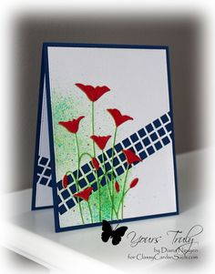 Diana Nguyen, Memory Box, Impression Obsession, square cutout border, color burst, poppies
