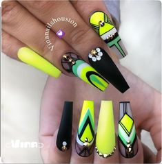 Glam Nails, Neon Nails, Dope Nails, Bling Nails, Matte Nails, Beauty Nails, Glitter Nails, Cute Acrylic Nail Designs, Nail Art Designs