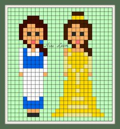 Belle - Beauty and the Beast Perler Bead Pattern
