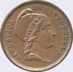 Pieza mv0.25cr-aa02v2 (Anverso). Moneda de Venezuela. 1/4 Centavo (Peso). Diseño A, Tipo A. Fecha 1852. Variante #2