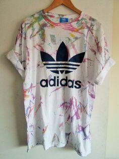 Vintage acid wash tie dye adidas originals retro rave festival unique urban  grunge Ibiza unisex skater T-shirt 7d2c2d879