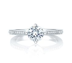 Whimsical Reverse-Tapered Engagement Ring | A. Jaffe