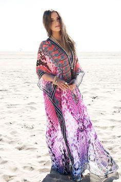 Resortwear Beach Swimwear Sarayi long lace up kaftan caftan cover up $168