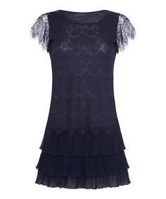 Look at this Navy Lace Flutter-Sleeve Dress on #zulily today!