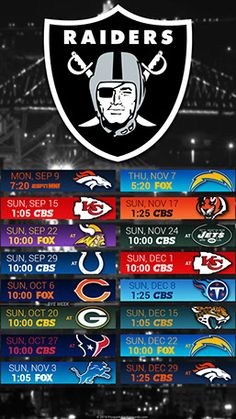 Raiders Schedule 2020.9 Best Raiders Schedule Images In 2019 Raiders Schedule