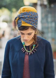 Blue Turban Head Covering