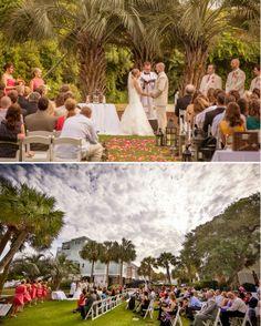 Wild Dunes Resort Weddings// Ceremony on the croquet lawn