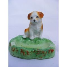 Vintage Art Deco 1930s-1940s Japanese Porcelain Puppy Ashtray