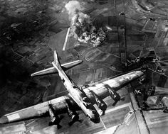 American 8th Air Force Boeing B-17 Flying Fortress bombing raid on the Focke-Wulf factory in Germany 9 October 1943