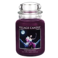 Village Candle Sugarplum Fairy Large Jar Candle Create a festive and comforting ambience throughout your home with this large glass jar candle from Village Candles. Large Glass Jars, Large Candles, Black Candles, Soy Candles, Scented Candles, Candle Jars, Yankee Candle Scents, Candle Store, Candles Online