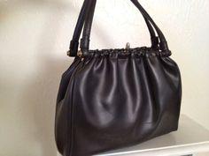 Rockabilly Black Leather Handbag Purse by VintageMindedMaven, $26.50