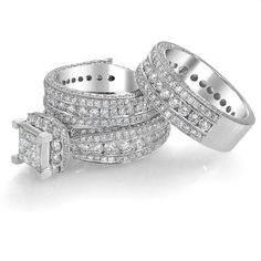 Princess Cut Diamond Trio Set Wedding Band and Bridal Set 14K White Gold 9.41 Ct. RNYJ http://www.amazon.com/dp/B00H010CNM/ref=cm_sw_r_pi_dp_2sgmvb0ABXATY