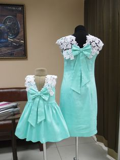 Mother Daughter matching Dresses by AdelaidaStyle on Etsy Mommy Daughter Dresses, Mother Daughter Dresses Matching, Mother Daughter Fashion, Mommy And Me Outfits, Mom Daughter, Girl Outfits, Matching Dress For Family, Matching Christmas Outfits, Kids Frocks Design