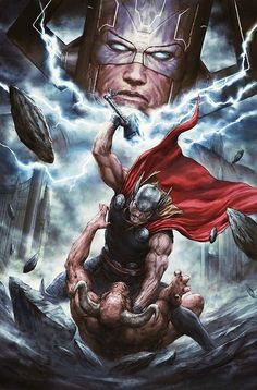 comicbookartwork:  Thor and Galactus