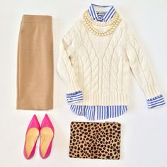 Cropped cable knit sweater, camel skirt, layered striped shirt with pearls, leopard clutch and pink pumps