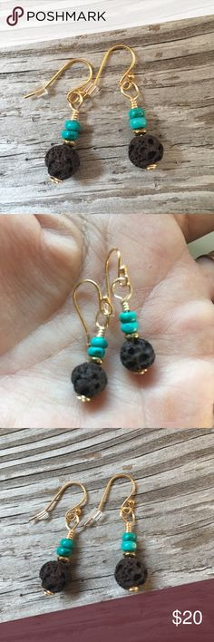 """Turquoise Essential Oil Diffuser Earrings  Artisan Handmade  Turquoise Howlite Gemstone Heishi Beads and Brown Lava Stone⭐️ These Adorable Earrings can be used with Essential Oils ~ put drop of your favorite Oil on Lava Stone and enjoy all day 14k gold plated Earwires. Approx 1 1/4"""" ✨ Includes Sample Essential Oil Jewelry Earrings"""