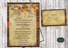 Rustic Wedding Invitation Fall Wedding by SugarSpiceInvitation