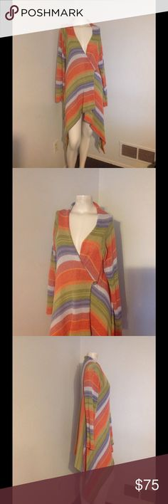 One Girl Who Stripe Indian Blanket Sweater S M Gorgeous sweater from Anthropologie by One Girl Who. Striped Southwestern Indian style. Wrap style and buttons over. Can be worn hanging open. High Low style. Made of cotton - no size on this. My mannequin is a size small and this also fits by daughter who is a size Medium. Great condition. Anthropologie Sweaters