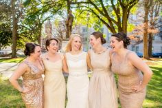 Amy Allen Photography. The Stockroom. Raleigh NC. Gold sequin bridesmaid dresses