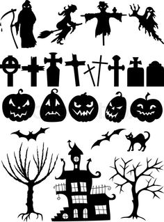 Stock vector ✓ 10 M images ✓ High quality images for web & print | Set of Halloween silhouettes