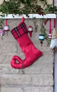 Luxury Christmas jester stocking to conceal that special gift: Red/tartan cuff
