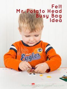 Felt Mr Potato Head Busy Bag Idea - There is a link included for the free printable for the felt pieces.