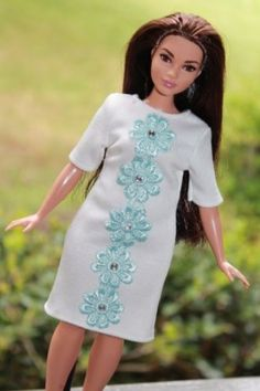 Clothes-for-Curvy-Barbie-Doll-Dress-decorated-with-blue-flowers-for-Dolls
