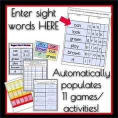 editable sight word stations