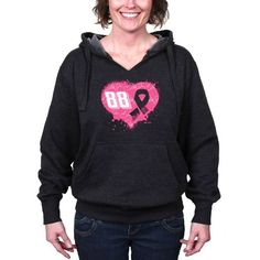 Dale Earnhardt Jr. Hendrick Motorsports Team Collection Women's Breast Cancer Awareness Pullover Hoodie - Graphite - $47.99
