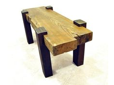 Custom Made Reclaimed Beam Coffee Table by Drew Lambert Designs