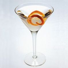 Valencia Martini (William Sonoma)- Ingredients:  1/2 oz. fino sherry  3 orange peels for flaming (see related    tip at right)  2 1/2 oz. vodka  Directions:  Coat the inside of a martini glass with fino sherry and toss out the excess. Flame 2 of the orange peels into the glass and discard. Chill the vodka and strain into the seasoned glass. Garnish with the last flamed orange peel. Serves 1.