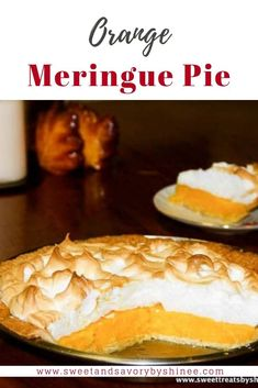 Orange Meringue Pie- Flaky buttery pie crust filled with sweet orange curd and topped with fluffy tall meringue. Desserts To Make, No Bake Desserts, Dessert Recipes, Orange Pie Recipes, Sweet Recipes, Orange Meringue Pie Recipe, Just Pies, Mini Pies, Sweet Tooth