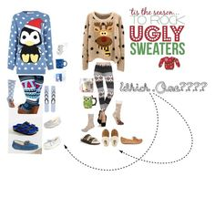 """""""""""Ugly"""" Christmas Sweater (Which One?)"""" by annagraceaustin on Polyvore featuring Birkenstock, Glamorous, Topshop, John Lewis, River Island, UGG Australia, Fiesta and Disney"""