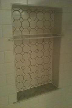 Subway Tile & HydroBan Waterproofed Shower Tampa, Florida   (Niche w/custom made Carrara shelves)   http://ceramictec.com/subway-tile-hydroban-waterproofed-shower
