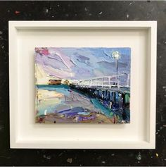 """""""Queenscliff Pier"""" looking a bit dapper in its new white shadow frame. #arts #paintings #australia #melbourne"""