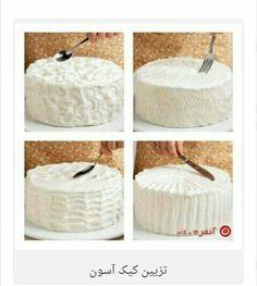 تزیین کیک بدون ماسوره و قیف