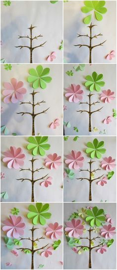 how to make paper artwork flowers pink green tree tutorial Diy Artwork, Flower Artwork, Paper Artwork, Paper Flower Tutorial, Paper Flowers Diy, Diy 3d, Flower Mobile, July Crafts, Stencil Diy