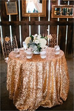 Rose gold sequin tablecloth. Would be neat to do this to the parents tables as well as the main bridal table so people know who to go congratulate.