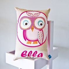 Girls Pink Owl Personalised Cushion