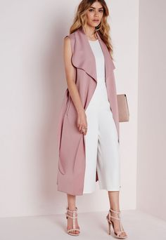 Sleeveless Belted Waterfall Duster Coat Mauve (blush pink) + white or grey top + white culottes/ pants or light grey cropped pants + sandals Nyc Fashion, Work Fashion, Autumn Fashion, Fashion Outfits, Womens Fashion, Western Outfits, Ärmelloser Mantel, Sleeveless Duster, Coats