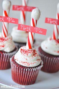 North Pole Cupcakes via www.KarasPartyIdeas.com! DIY instructions & FREE printable North Pole tag!