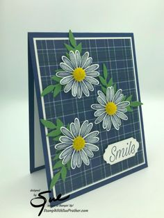 Stamp With Sue Prather Smile Design, Christmas In July, Thank You Gifts, Flower Cards, Stampin Up, Daisy, Plaid, Thursday, Punch