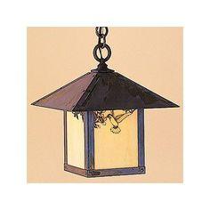 Arroyo Craftsman Evergreen 1 Light Outdoor Hanging Lantern Overlay: T-bar, Finish: Satin Black, Shade Type: Tan