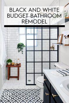 New Bathroom Ideas, Modern Bathroom Decor, Bathroom Interior Design, Scandinavian Bathroom, Bathroom Inspiration, Bathroom Vintage, Bathroom Furniture, Black White Bathrooms, White Vanity Bathroom
